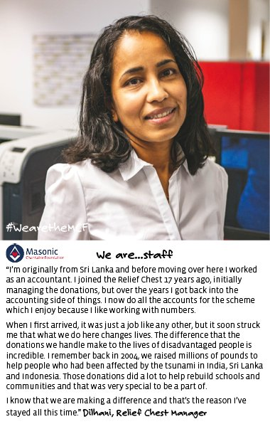 """test Twitter Media - #WearetheMCF """"I'm originally from Sri Lanka and before moving over here I worked as an accountant. I joined the Relief Chest 17 years ago, initially managing the donations, but over the years I got back into the accounting side of things. I now do all the... #Christmas #Charity https://t.co/58pNTfIVY6"""