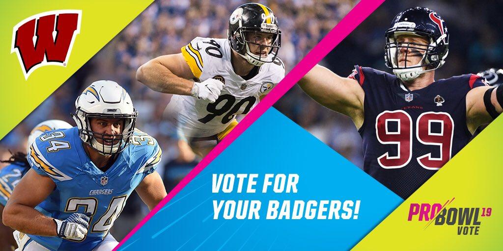 Turn down (and vote) for WATT! Hit that RETWEET button 🔁 today to cast 2x the NFL #ProBowlVote for each of these Badger brothers J.J. Watt T.J. Watt Derek Watt #OnWisconsin // #Badgers
