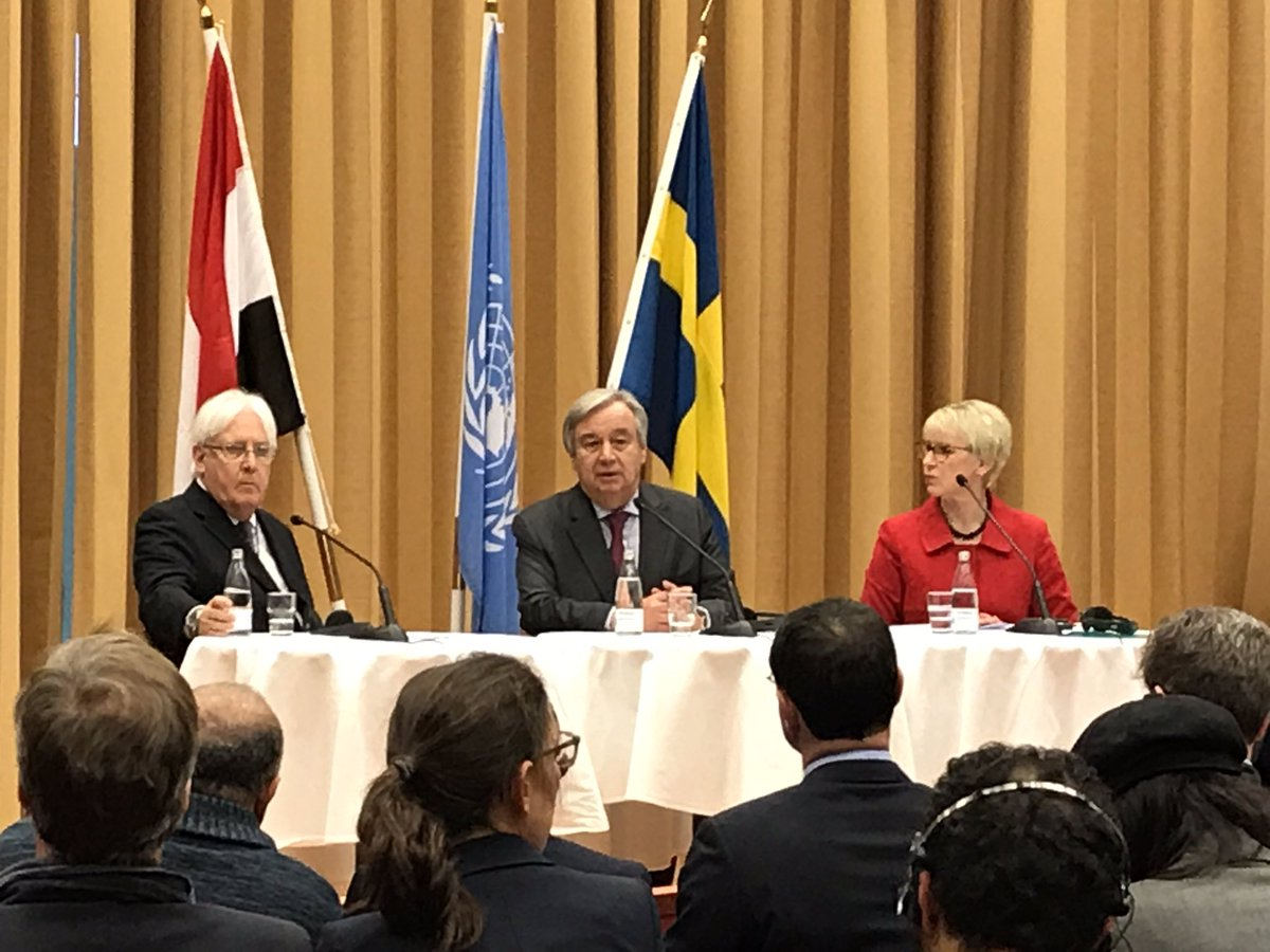 Today, I hope we are seeing the beginning of the end of one of the biggest tragedies of the 21st century — the conflict in Yemen, the worst humanitarian crisis in the world. My remarks in Sweden bit.ly/2Gf78a2