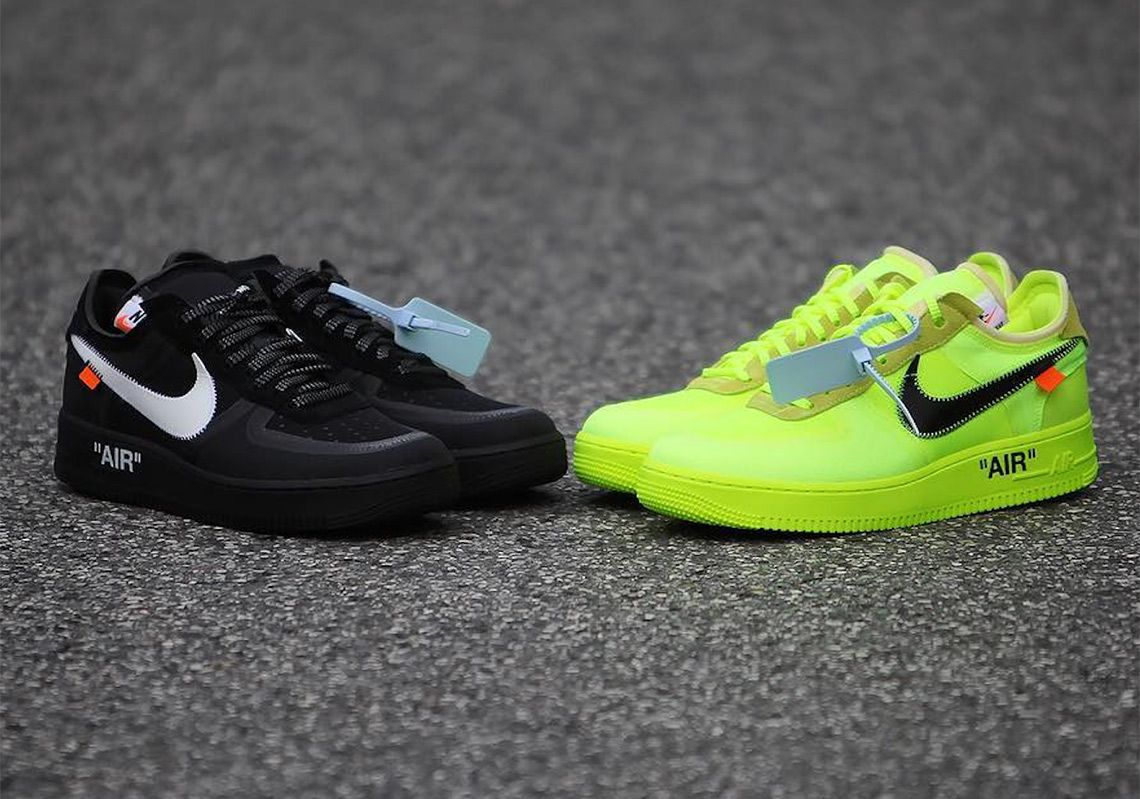 The Off-White x Nike Air Force 1  Black  and  Volt  raffle guide is LIVE. 6e6199662f16