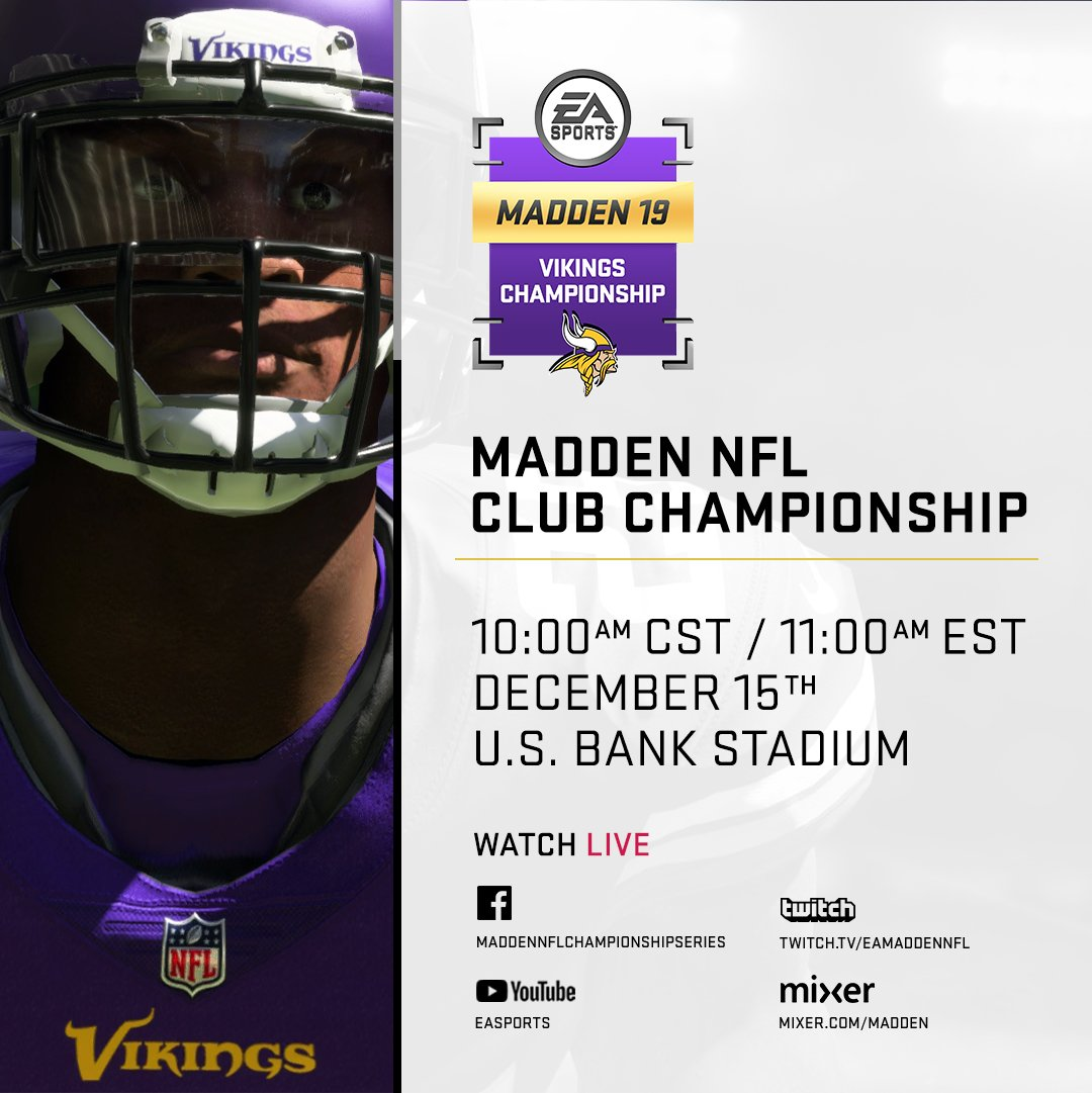 Tune in NOW to see who wins the @Vikings Club Championship!  Watch here: https://t.co/B45GGW8X2x #Madden19