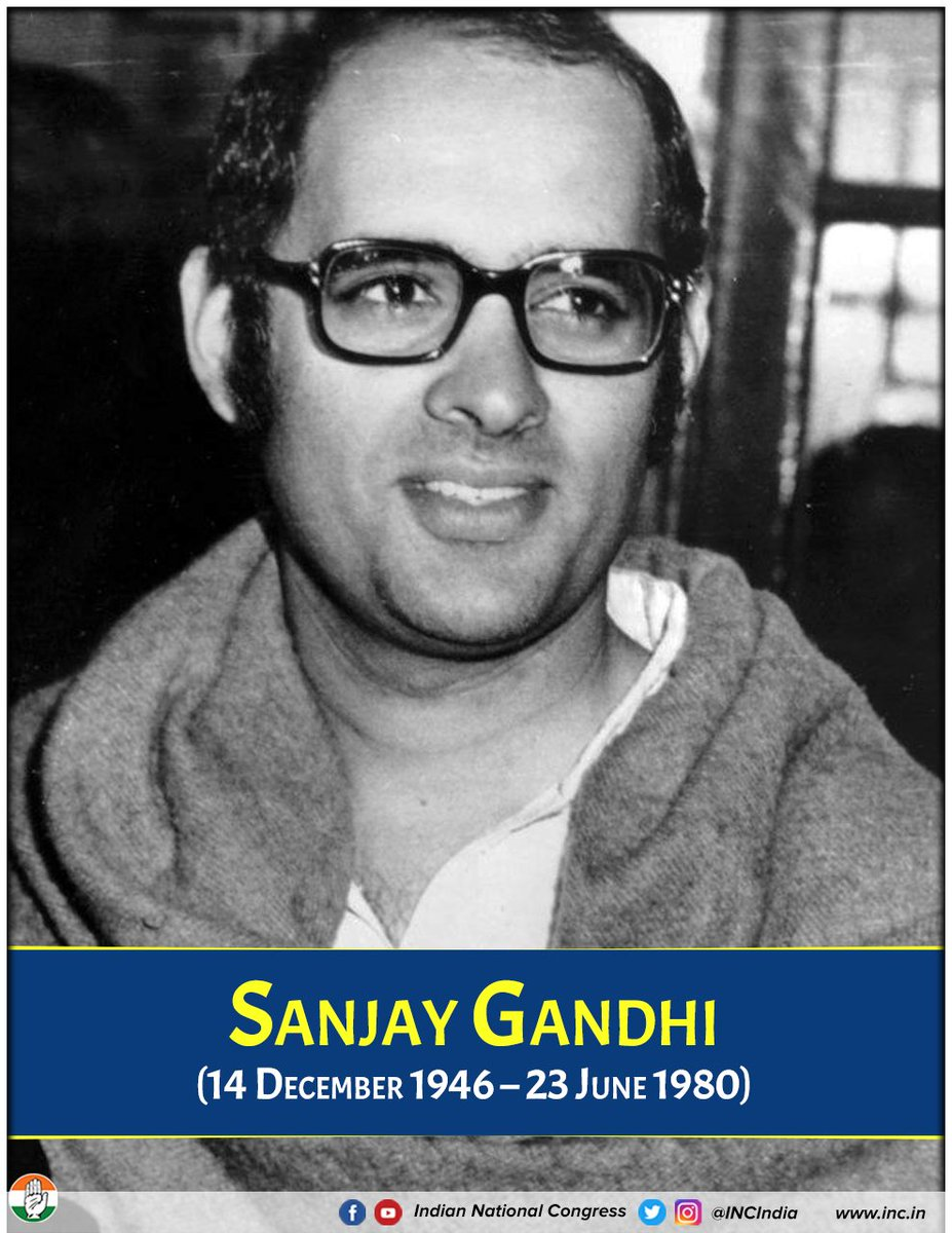 Today we honour Shri Sanjay Gandhi on his birth anniversary. A visionary leader, a strong advocate for the poor & a great believer in the power of technology.
