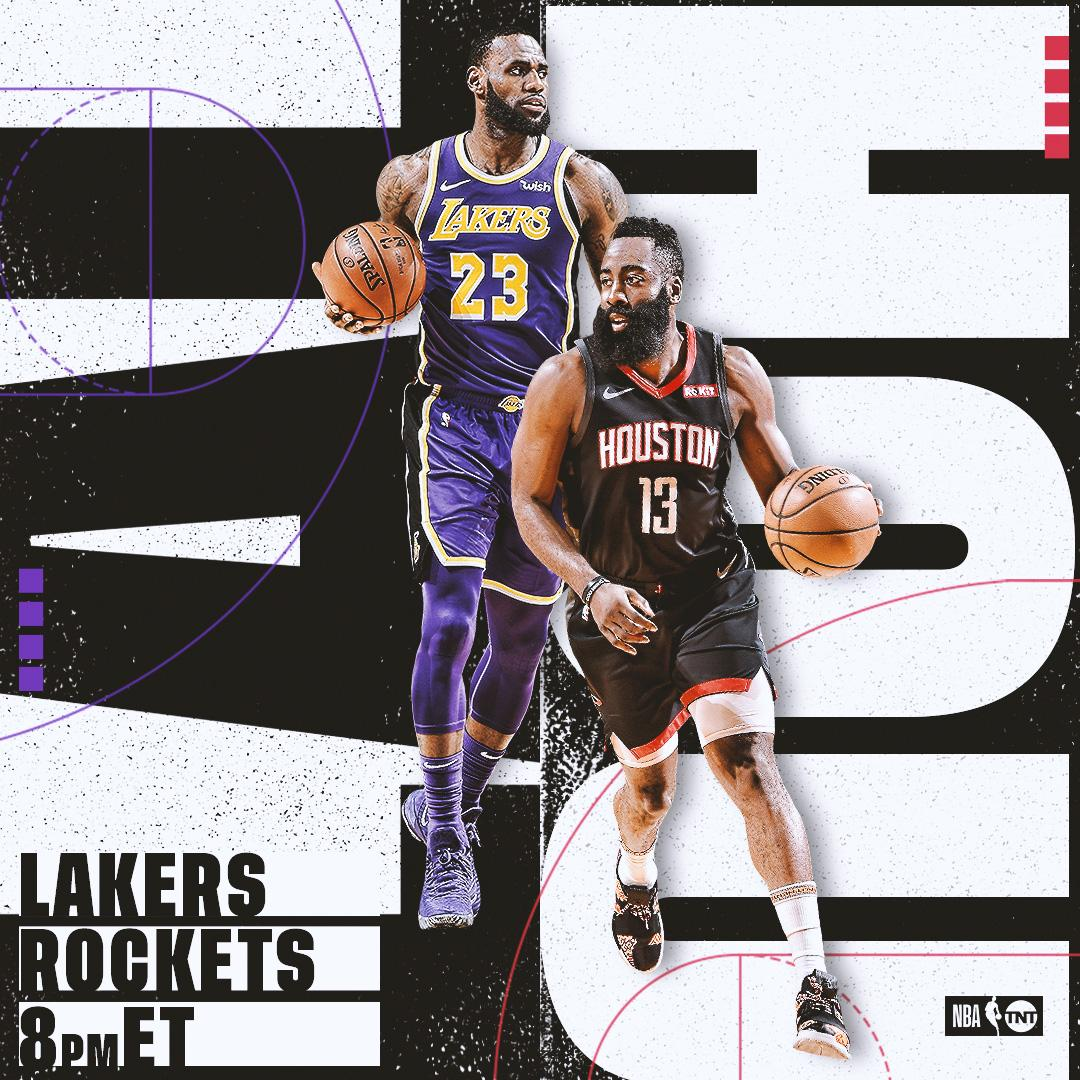 NEXT on TNT! 📺  LeBron and the @Lakers take on James Harden and the @HoustonRockets!