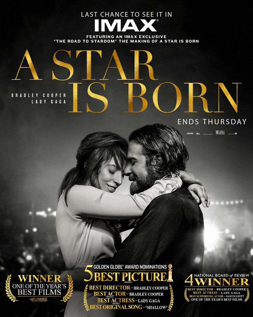 """Dont miss your chance to experience Golden Globe nominated #AStarIsBorn in #IMAX featuring """"The Road to Stardom,"""" an after the credits exclusive look at the making of the film with #BradleyCooper & #LadyGaga. Get tickets: amc.film/2E9RZ88."""