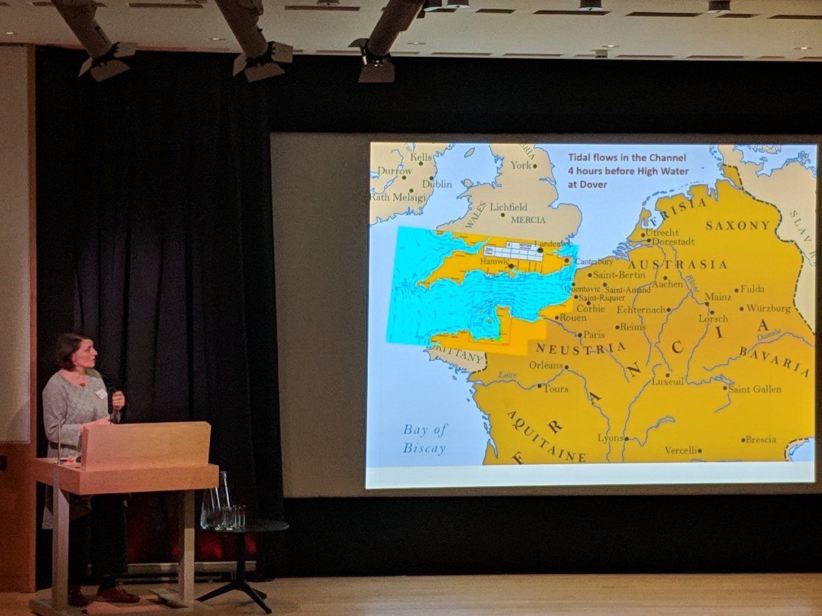#MSSinASK Jo Story on the close tidal relationship between #AngloSaxon Kent & continent, ocean as highway faster to go to Quentovic than London