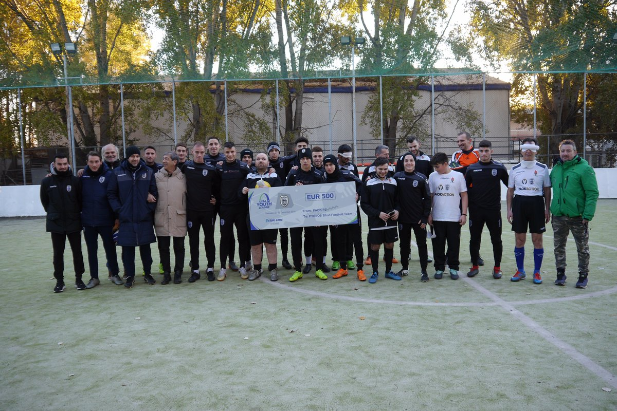 """#PAOKu19 participates in solidarity project of @UEFAYouthLeague and supports blind football team """"Pyrsos"""" #PAOKAction #EqualGame #Respect #MoreThanFootball"""