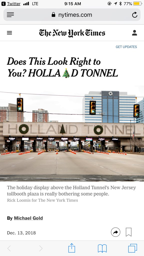 "So here for the @migold era in @NYTMetro 👏👏👏: ""And there, N, lies the problem."" And this @judystong headline with 🎄! https://www.nytimes.com/2018/12/13/nyregion/holland-tunnel-decorations-christmas-tree.html …"