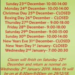 Image for the Tweet beginning: Gym times for over Christmas