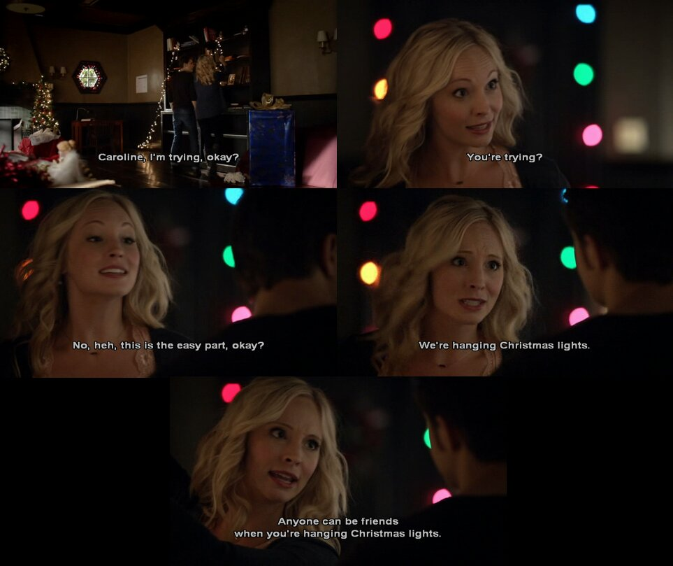 #Stefan: I'm trying, ok? #Caroline: You're trying? No. This is the easy part, okay? We're hanging #Christmas lights. Anyone can be friends when you're hanging Christmas lights. #TVD #TheVampireDiaries #Steroline #StefanAndCaroline #CarolineandStefanpic.twitter.com/Jqxd7ALRyA