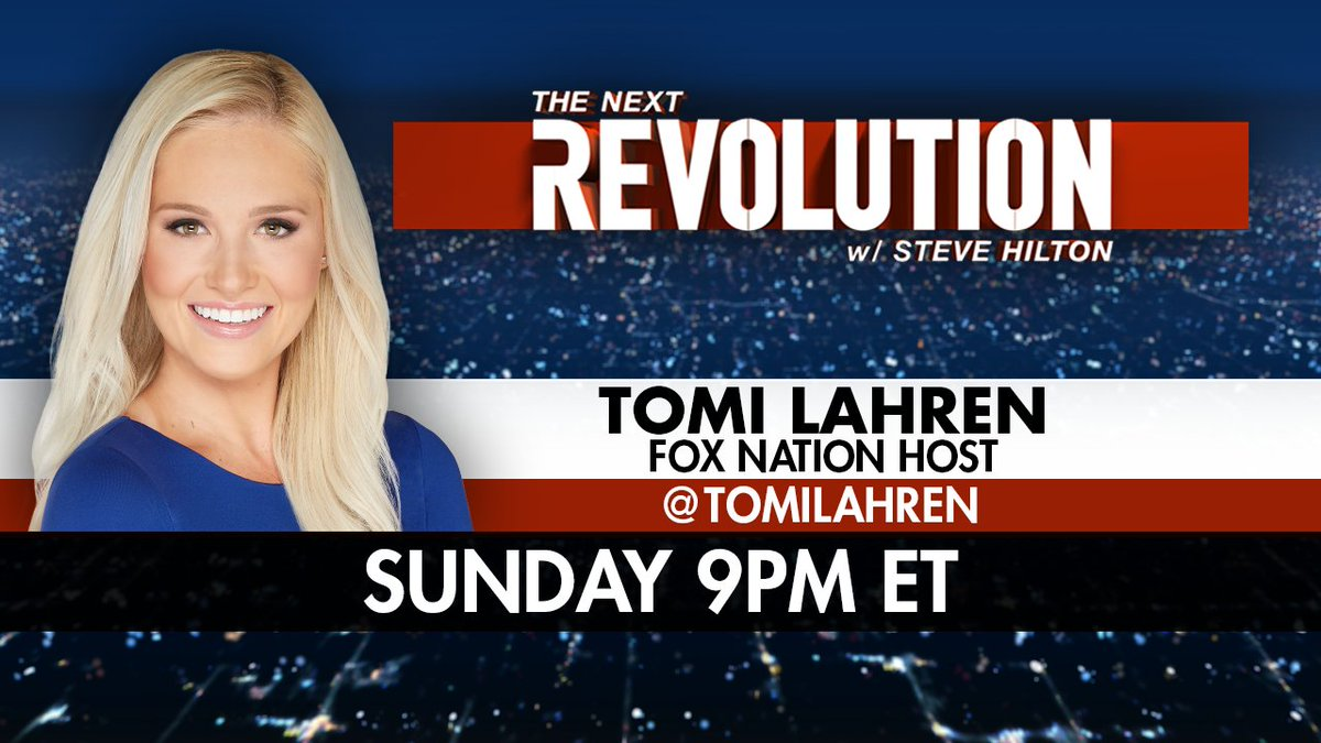 TONIGHT at 9PM ET on @FoxNews: @TomiLahren joins @SteveHiltonx on The Next Revolution! #NextRevFNC