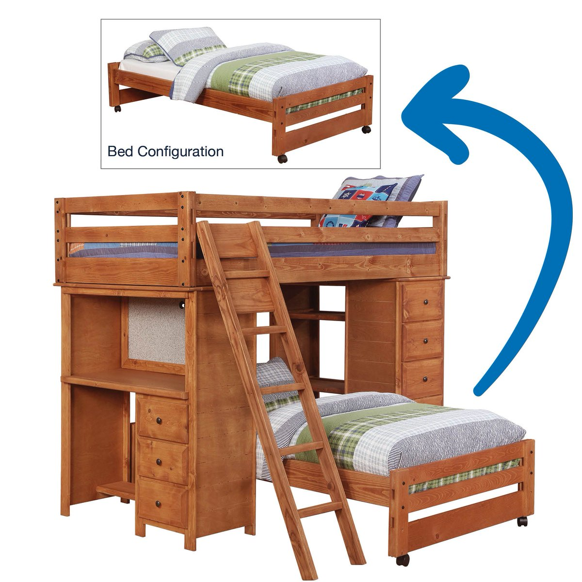 Desk Bunk Bed Twin