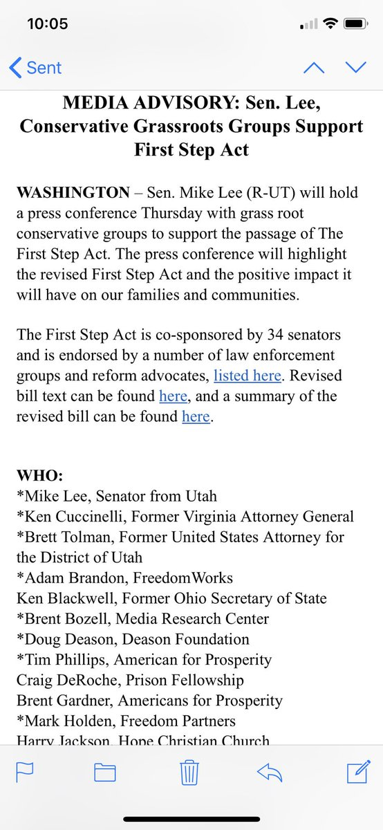 MEDIA ADVISORY: @SenMikeLee to hold press conference with conservative grassroots organizations and advocates supporting the #FirstStepAct and criminal justice reform at 2:00pm ET TODAY
