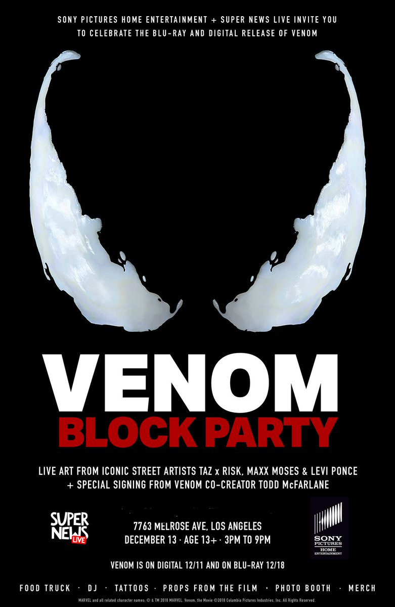Todd Mcfarlane On Twitter Those Of You In La Or Close To It There S Gonna Be A Kick Ass Venommovieparty Today At 3 00 Pm Pst To Celebrate The Release Of The Blu Ray