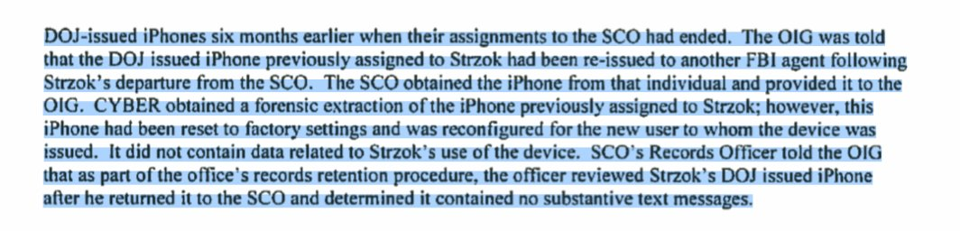 So Mueller&#39;s team wiped ALL of the data off of Peter Strzok&#39;s iPhone after determining &quot;it contained no substantive text messages.&quot; Given what we know about Strzok, this smells like quite the coverup. Time for Congress to step in?  https:// oig.justice.gov/reports/2018/i -2018-003523.pdf &nbsp; … <br>http://pic.twitter.com/9w2mEPK64C