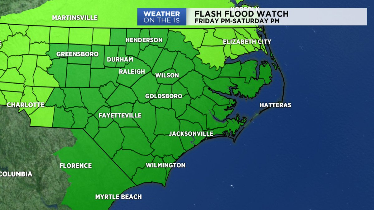 FLASH FLOOD WATCHES go in effect Friday afternoon for most of central and eastern North Carolina. #SpectrumNews #ncwx<br>http://pic.twitter.com/4EJNLIcKwi