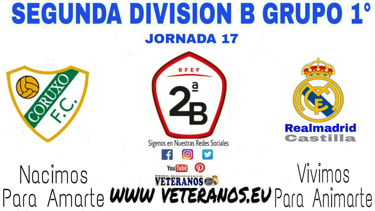 🏆 Segunda División B Grupo I° 📍 Jornada 17 ⚽ @CoruxoFC1 🆚 @RMACastilla  📆 Domingo 16 🕢 16:30h 🏠 Campo Do Vao 📺 #RMTV #TodosConElCastilla #VeteranosLaFabrica 🔝 💪 #NacimosParaAmarte #VivimosParaAnimarte