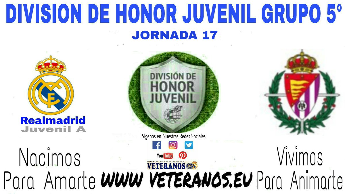 🏆 DH Juvenil Grupo 5° 📍 Jornada 17 ⚽ Juvenil A 🆚 @realvalladolid  📆 Domingo 16 🕢 19:00h 🏠 Ciudad Real Madrid @lafabricacrm  📺 #RMTV #TodosConElJuvenilA #VeteranosLaFabrica 🔝 💪 #NacimosParaAmarte #VivimosParaAnimarte