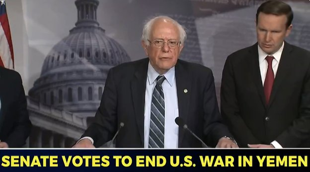 .@SenSanders: 45 years after the passage of the War Powers Act, the U.S. Senate has come together to use that authority for the first time in history and say that the constitutional responsibility for war rests with the Congress, not the president.