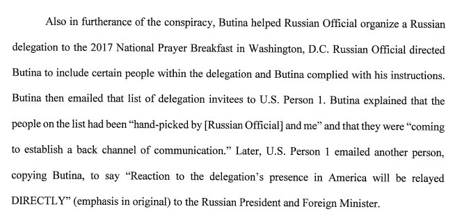 """Maria Butina wrote that Russian attendees at 2017 National Prayer Breakfast were coming to establish a back channel of communication."""" huffingtonpost.com/entry/maria-bu…"""