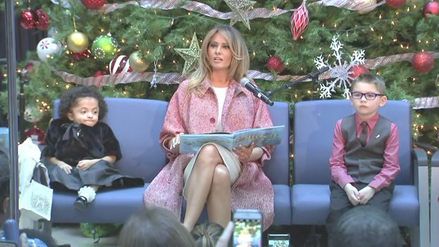 At Children's National Hospital in DC, Mrs Trump makes annual holiday visit and reads to patients & families from 'Oliver the Ornament.'