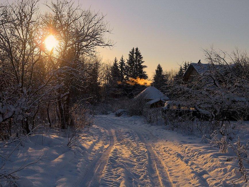 Картинки зимнего вечера в деревне, выходных