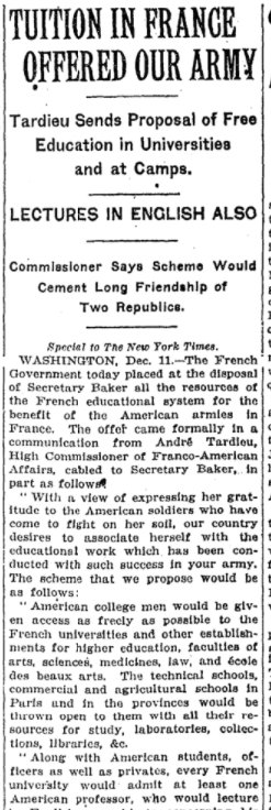 Dec 12, 1918 - New York Times: French government offers free education for US soldiers in France #100yearsago
