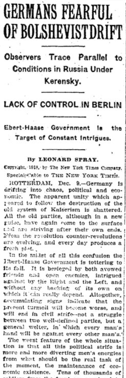 Dec 12, 1918 - New York Times: Germans fearful of drift towards Bolshevism #100yearsago