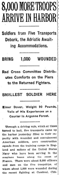 Dec 12, 1918 - New York Times: More US troops arrive home by ship #100yearsago