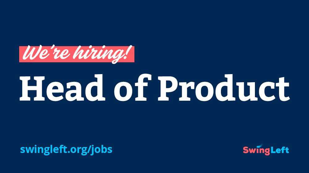Help reach volunteers from coast to coast (and beyond) to take back ALL the Houses. #NowHiring Head of Product: swing-left.breezy.hr/p/ece680ea108f… #jobs #hiring #remotejob