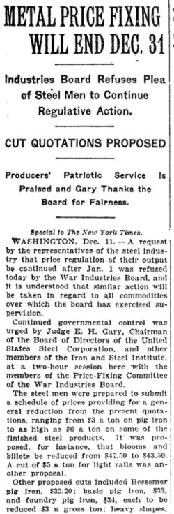 Dec 12, 1918 - New York Times: US government will stop wartime fixing of metal prices at year's end #100yearsago