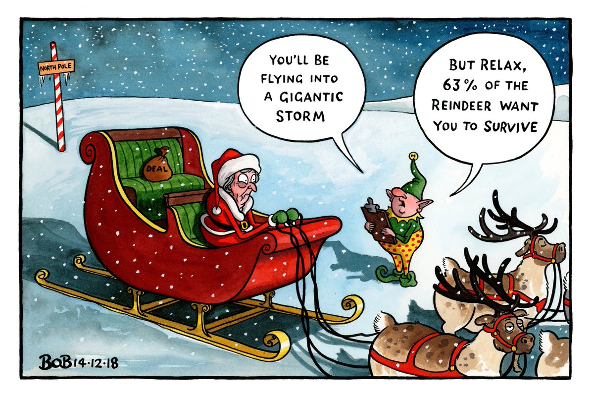 .@Telegraph cartoon #ConfidenceVote #TheresaMay #Christmas #MeaningfulVote