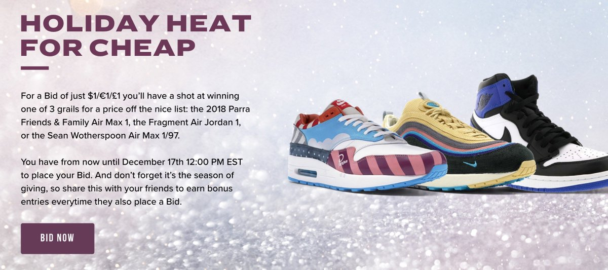 8e954d2d33 ... Parra Friends & Family Air Max 1, the Fragment Air Jordan 1, or the  Sean Wotherspoon Air Max 1/97 Bid here -> http://bit.ly/2LecXUe  pic.twitter.com/ ...