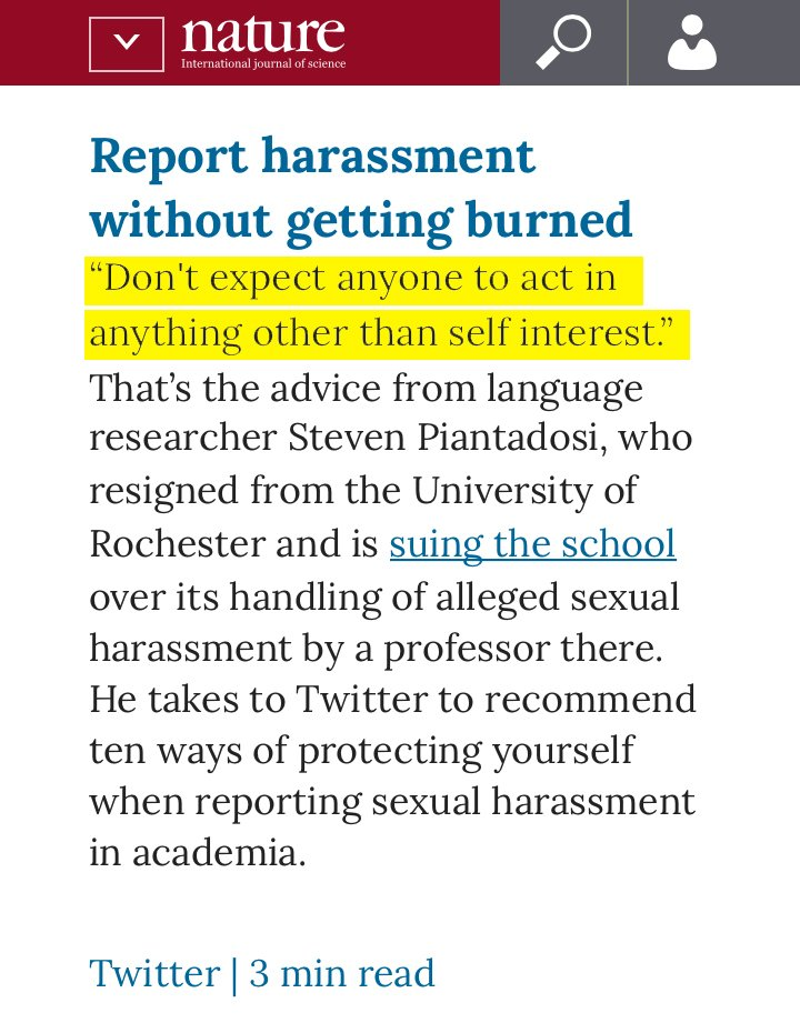 A thread by @spiantado on 10 ways to protect yourself when you have to report sexual harassment to your university, today in @NatureNews nature.com/articles/d4158…