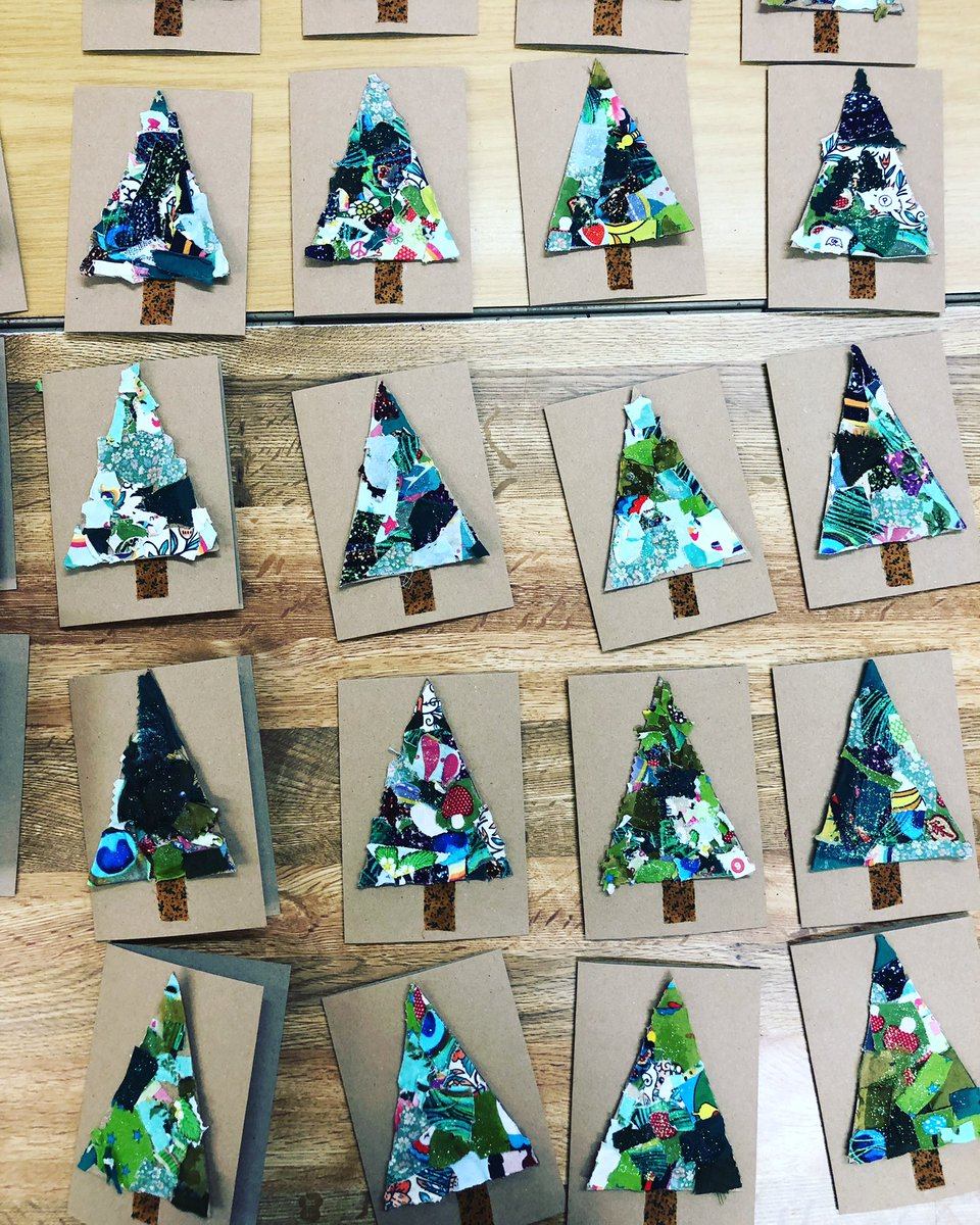 Sarah Delahoy Art On Twitter Fabric Collage Christmas Trees Make Simple But Very Effective Christmas Cards