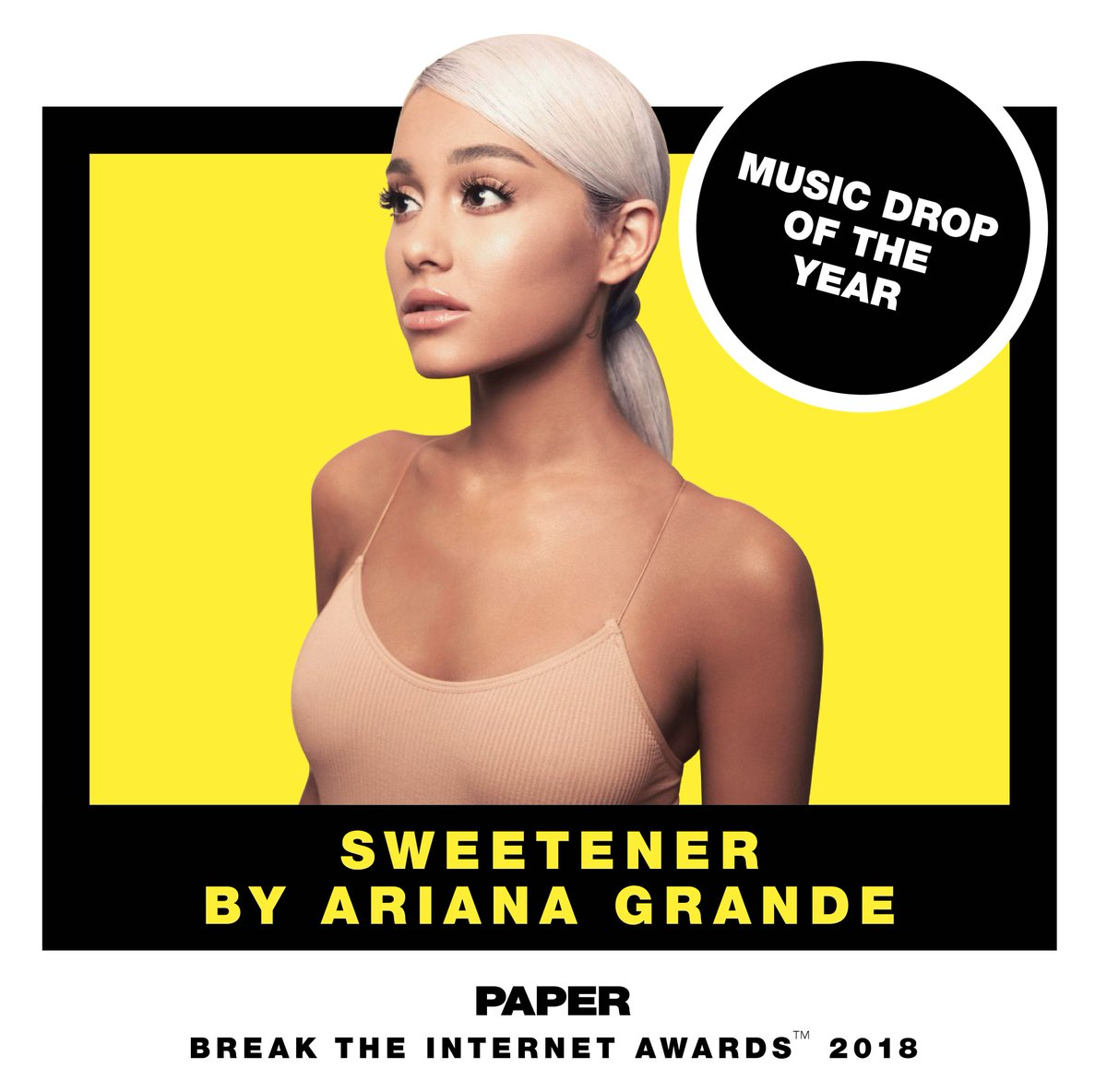 .@ArianaGrande for music drop of the year! #sweetener #breaktheinternet https://t.co/Fnkqv7FGh6