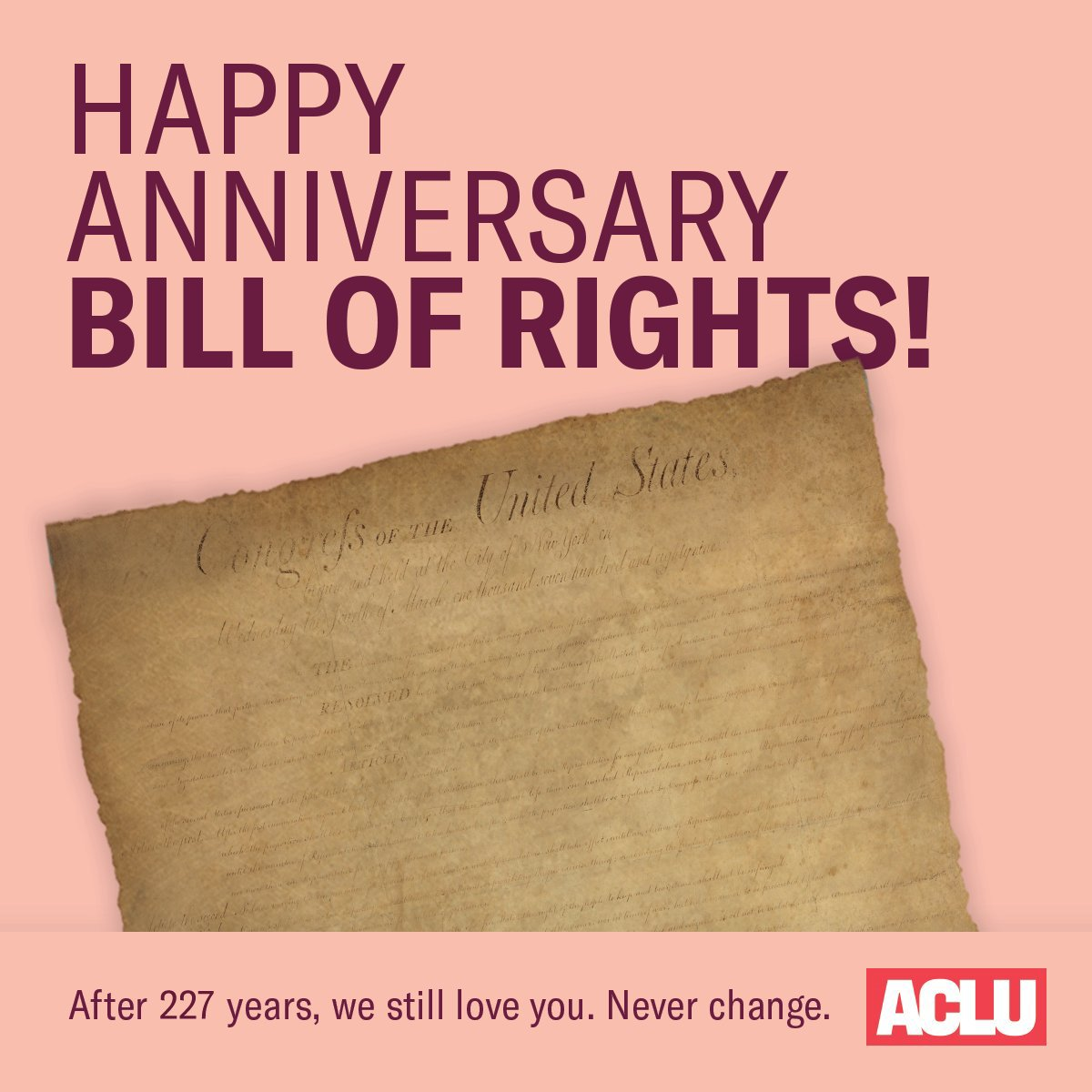 ACLU's photo on #BillofRightsDay