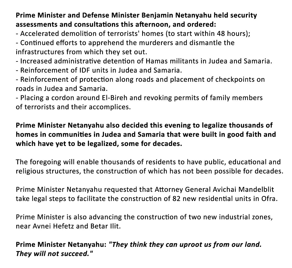Prime Minister and Defense Minister Benjamin Netanyahu held security assessments and consultations this afternoon, and ordered the following steps.   PM Netanyahu: 'They think they can uproot us from our land. They will not succeed.'  https://t.co/tFxnyBm83X