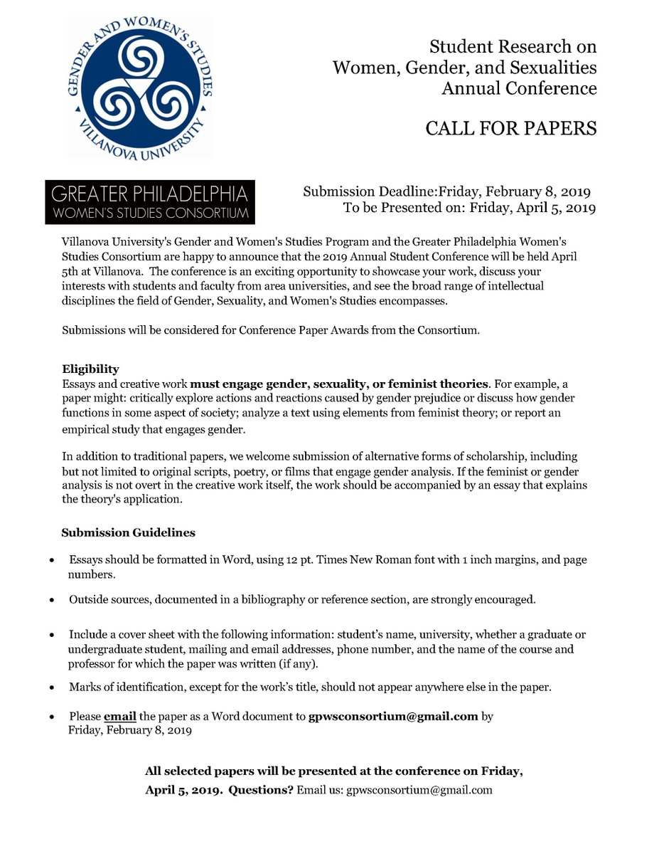 Globalstudiestemple On Twitter Do You Have A Great Paper On Women  Do You Have A Great Paper On Women Gender And Sexualities Consider  Applying To This Upcoming Conference Sponsored By The Great Philadelphia  Womens