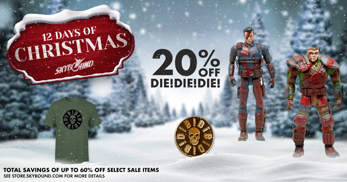 We're reaching the end of our 12 Days of Christmas sales and today we're celebrating with DIE!DIE!DIE! Get 20% off all DIE!DIE!DIE! merch in the Skybound store TODAY! bit.ly/DIEStore