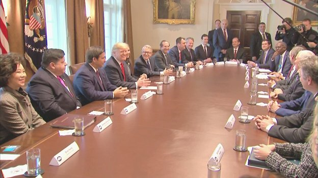 """Pres Trump and some Cabinet officials meet with 13 Governors-elect - 8 GOP, 5 Dems - to offer congratulations and pledges of support. Said there were 'some real stars' in the room. Gov-elect """"Lou"""" Leon Guerrero of Guam, urged him not to forget Guam - 'where America's day begins.'"""