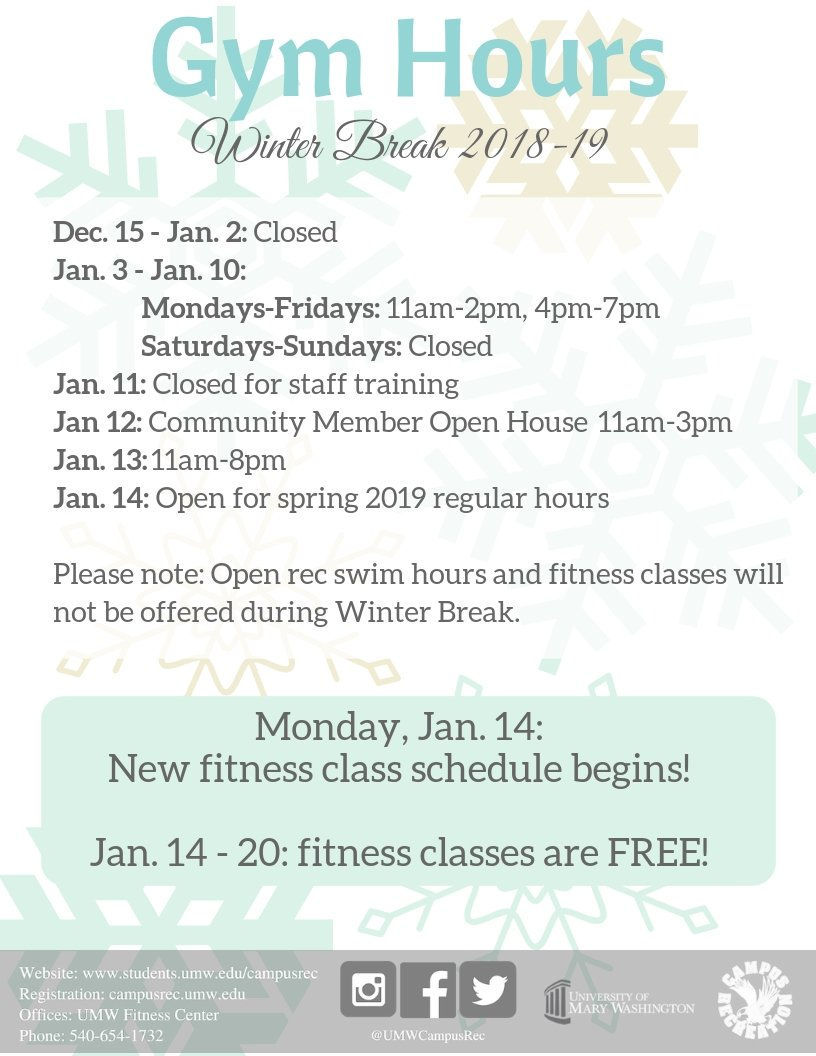 Umw Campus Recreation On Twitter The Gym Will Be Closed For Winter