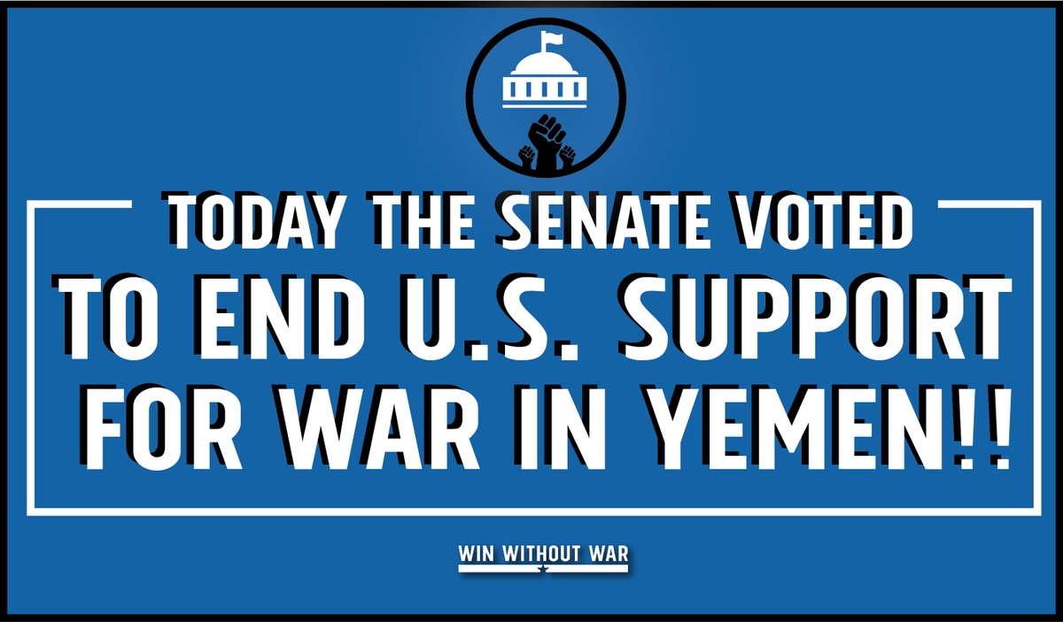 Vote by vote, we are winning! The Senate just voted 56 to 41 to end U.S. support for the Saudi-led war in Yemen! #SJRES54 1/