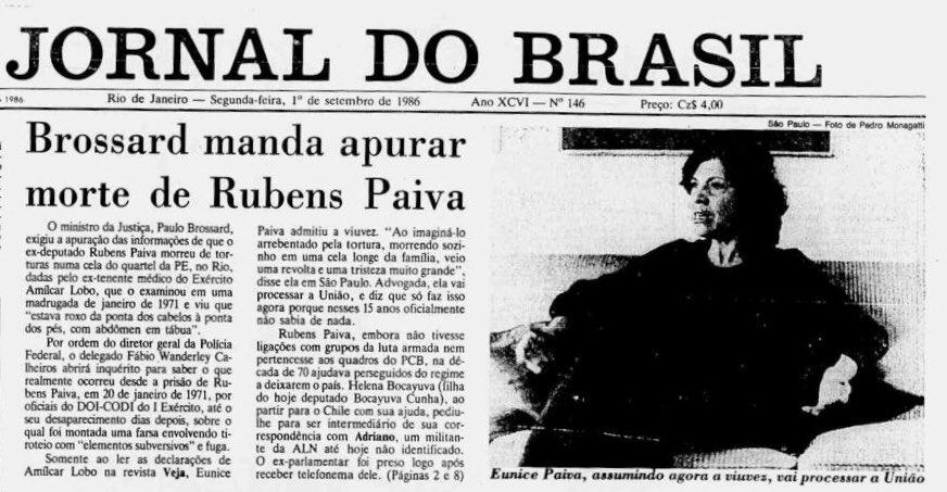 De todos as combatentes que denunciaram assassinatos e abusos cometidos pela ditadura militar, durante os anos de chumbo, a figura de Eunice Paiva é uma daquelas que permanecem para sempre vivas e cheias de força em nossos corações. #AI5NuncaMais  https://t.co/YPuchbReXD