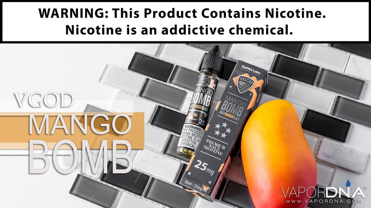 It's The Bomb!  Mango Bomb by VGOD E-Juice is a deliciously balanced flavor that absolutely gushes flavor of freshly peeled mango.   Grab Yours Today : https://t.co/uLe4K6Vdmm _  #VaporDNA #VGod #MangoBomb #Ejuice #Eliquid  #VapeOn #SoCal #VapeFam #VapePorn #VapeLyfe #VapeNation https://t.co/zP6XTe8qVJ