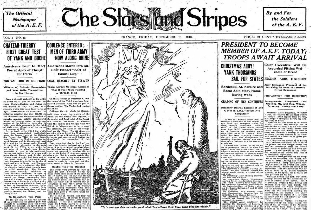 Dec 13, 1918 - Stars and Stripes (US Army newspaper in France) #100yearsago