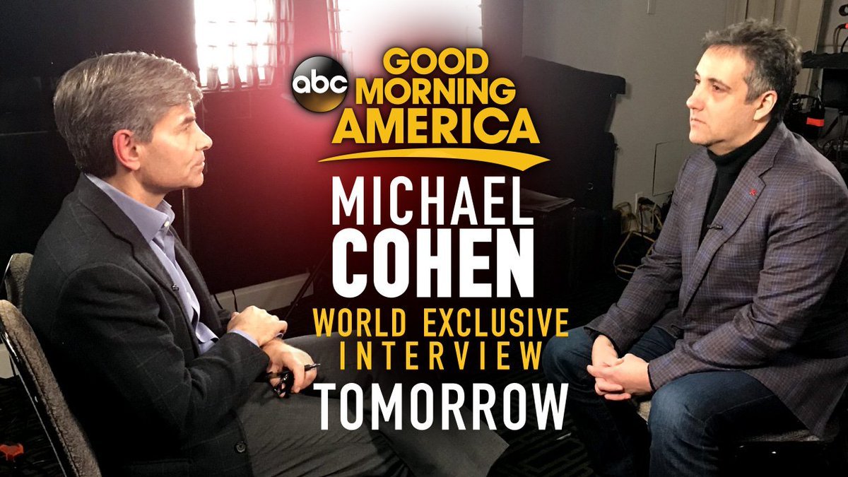 TOMORROW MORNING:  An @ABC exclusive as Michael Cohen sits down with @GStephanopoulos, speaking out for the first time since being sentenced...  What will he say?  Watch the EXCLUSIVE interview tomorrow only on @GMA immediately following Channel 2 Action News This Morning