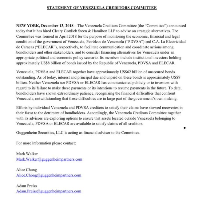 Statement of Venezuela Creditors Comittee on the situation of CITGO and the hiring of a law firm (December 13, 2018 - PDF)  http://www. noticierodigital.com/cms/wp-content /uploads/convert-jpg-to-pdf.net_2018-12-13_22-18-49.pdf &nbsp; … <br>http://pic.twitter.com/lLF6cA6ZW1