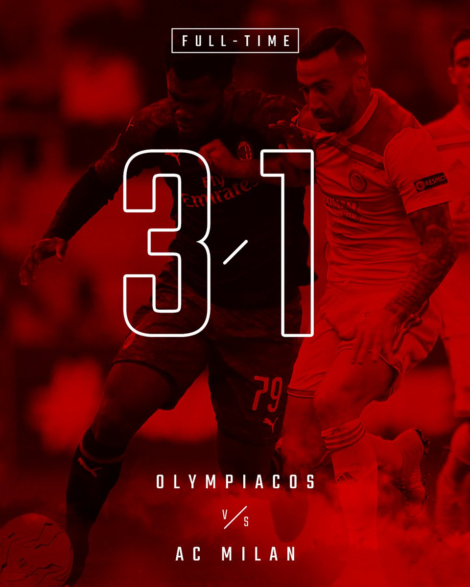 There's no mo time. @olympiacos_org are through to the Round of 32 / Finisce qui: passa l'Olympiacos #OlympiacosMilan 3-1 #UEL