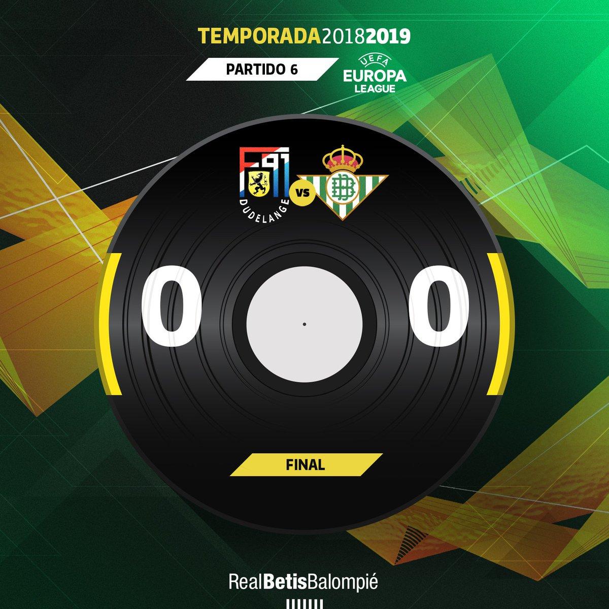 94 ⏱⚽️ Final del partido con empate verdiblanco ⚖ ¡Somos primeros de grupo! ⚪⚫ #DudelangeRealBetis 0-0 💚⚪️ #DíaDeBetis #EuroBetis