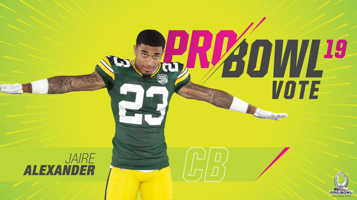 1 RETWEET = 2 VOTES   Rookie CB Jaire Alexander has a team-high 14 passes defensed, ranks third on the team with 67 tackles &amp; has an INT.  #ProBowlVote + @JaireAlexander  #ProBowlVote + @JaireAlexander  #ProBowlVote + @JaireAlexander   #GoPackGo <br>http://pic.twitter.com/CMr68hJZiz